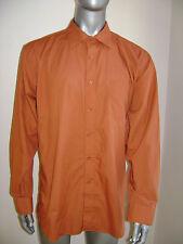 ADOLFO MENS DRESS CASUAL SHIRT size 17 34 / 35 ORANGE MINT CONDITION
