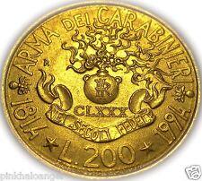 Italy - Italian 1994R 200 Lire Coin - 180th Anniversary - Carabinieri