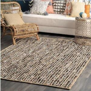 9x12 feet square Indian hand braided rug cotton with jute area rugs home decor