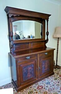 Lovely Antique Edwardian Mahogany Mirror Backed Sideboard with Wine Cooler Tray.