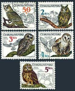 Czechoslovakia 2620-2621,used.Michel 2875-2879. Owls 1986.bubo bubo,Asio otus
