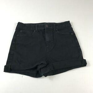 American Eagle Curvy Hi Rise Shortie Denim Shorts Black Stretch Womens Size 6