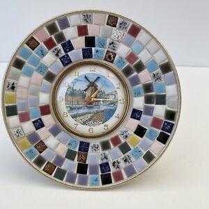 Vintage 1970/80's Kitsch Wind Up Clock TURNING WINDMILL Ceramic Mosaic Surround