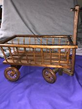 """Vintage hand crafted 13"""" wooden wagon"""