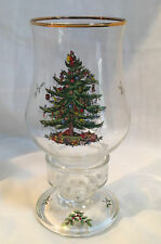 SPODE CHRISTMAS TREE GLASS HURRICANE CANDLE