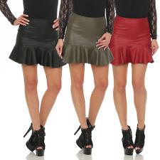 11044 Damen Rock Minirock Rock Lederimitat Skirt Volantrock Damenrock