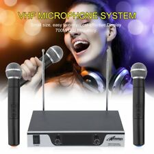 Professional Dual Channel UHF Wireless Microphone System w/ 2 Handheld Mics VIP