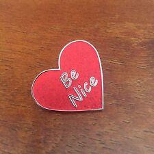 "Nice"" hard enamel pins 1"" red heart shaped ""Be"