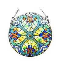 """Stained Glass Chloe Lighting Victorian Window Panel 20"""" Diameter Handcrafted New"""