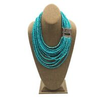 Silver Tone Crystal Rhinestone 15 Strand Turquoise Colored Glass Bead Necklace