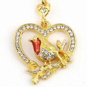 WOMEN GOLD ROBIN BIRD HEART PENDANT CHAIN NECKLACE JEWELRY Christmas GIFT UK