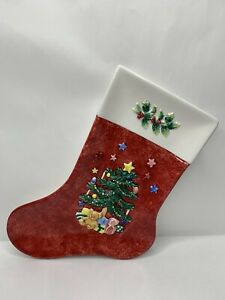"Nikko Christmas Tree Stocking 9"" Candy Dish Ceramic Embossed Holiday"
