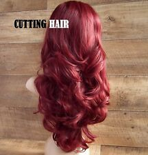 Red Burgundy Mix 3/4 Wig Long Curly Layered Half Wig 802-113/118