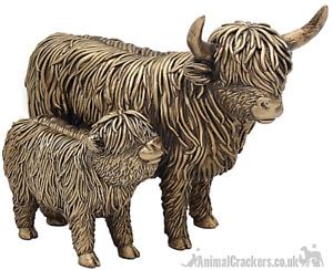 Leonardo Bronzed Highland Cow Mother & Calf ornament sculpture figure gift boxed