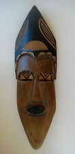 "VINTAGE AFRICAN CARVED WOOD MASK 18.5""Tall  RARE Handmade in Zambia Tribal Tribe"