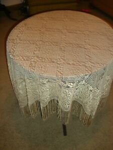 """Lace Table Topper Gold  Chantilly  design  56"""" x 56"""""""