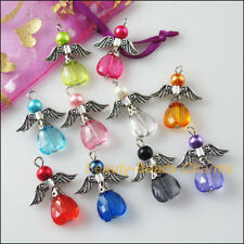 10Pcs Mixed Dancing Angel Wings Heart Charms Pendants 23x29mm