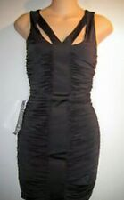 BEBE NEW $119 sz S tags BLACK dress ruched sexy nomad mini no wrinkle stretch