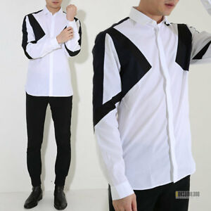 NEIL BARRETT White Black Navy Abstract Slim Fit Cotton Shirt RRP: £345.00