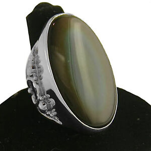 Offerings Sajen 925 Sterling Silver Large 20x35mm Rainbow Obsidian Ring Size 7