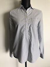 J Crew White Blue Stripe Button Up Shirt Blouse Top XS *Excellent Condition*