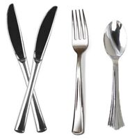 96 x Silver Plastic Metallic Cutlery Set Party Forks Spoons Disposable
