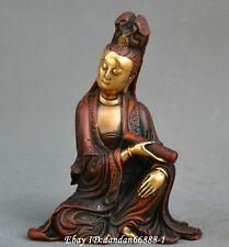 China Buddhism old Bronze carve gild Kwan-yin Guanyin Bodhisattva goddess statue