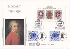 Enveloppe grand format 1er jour 1991 GF Soie Mozart TP France + BF Autriche