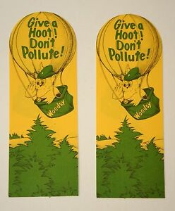 2 Vintage Woodsy The Owl Give A Hoot Don't Pollute! 1970s Bookmarks New NOS