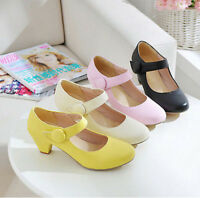 Women's Fashion Mary Jane Heels Shoes Ladies' Pumps Sweety Faux Leather Ballet