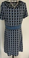 Ladies MAX STUDIO  Navy White Patterned Tunic Dress Large 16 18