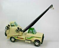 Vintage NYLINT White & Green Road Builders Pressed Steel Crane Truck 61101 USA
