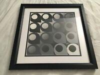 Op Art Monotone Tessellation B&W Grey Geometric Pattern Original Framed Painting