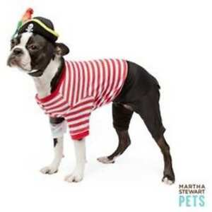 Martha Stewart Pets Stripe Pirate Dog Costume with Hat Parrot  Small Halloween