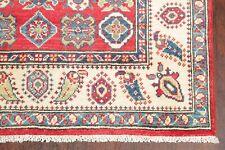 Geometric RED Super Kazak Area Rug Hand-Knotted Oriental Kitchen Carpet WOOL 3x5