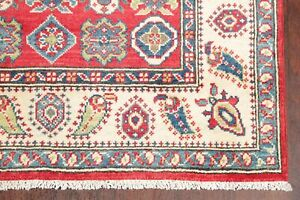 Geometric RED Super Kazak Area Rug Hand-Knotted Oriental Kitchen Carpet WOOL 3x5