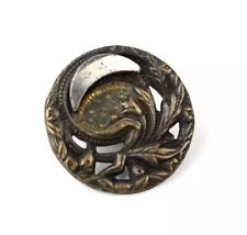 Antique Victorian Picture Metal Button Reflective Moon Sky Foliage 6/8th inch