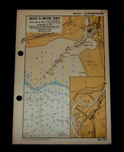 NEATH & BRITON FERRY Glamorganshire - Vintage WW2 Naval Military Map 1943