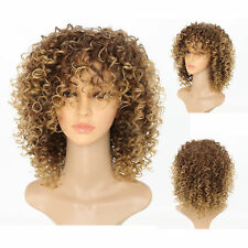 Womens Ladies Blonde Short Kinky Curly Wigs Afro American Wavy Hair Cosplay Wig