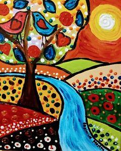 """Colourful Folk art Tree  acrylic on Canvas 10"""" x 12"""" By Casimira Mostyn"""