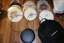 Lot of used drum heads and bag etc. pearl remo aquarian and more