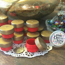 12 Cute Mini Red Jars .25oz Gold Cap wax Container 1/4oz Usa Lucky Red w/gold
