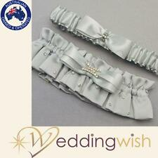 Wedding Garter - Platinum By Design Silver Duchess Satin Garter - RRP $39.95