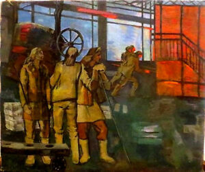 1962 Socialist Realism Painting- FACTORY WORKERS; Listed SOVIET Russian ARMENIAN