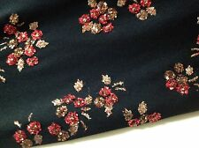 "NEW Designer Black Stretch Fabric With Heavy Glitter Floral 58""146cm Fancy Dress"