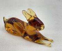 Vintage Pilgrim Glass  Amber Hand Crafted Rabbit Glass Paperweight Figurine
