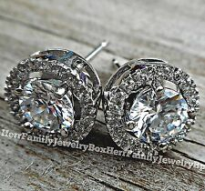 Solid Sterling Silver Round cut Halo Simulated Diamond Jacket post stud Earrings