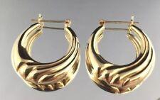 Vtg.14K Solid Yellow Gold Large Hoop Earrings  3.4 Grams