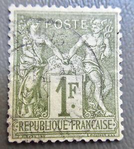 France T1 1876 1 fr  Stamp #76  Used