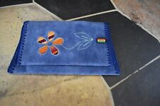 Hand made Bolivia blue suede 2 fold wallet embroidered flower charm New